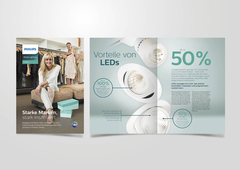 Arbeitsbeispiele | Kommunikation | Retail Lighting | Kunde Philips Lighting Signify